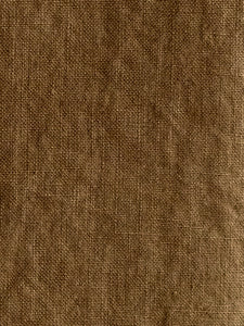 detail of brown washed linen made in France by Linge Particulier