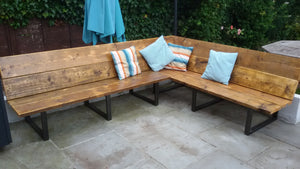 Reclaimed Scaffold Board & Steel Corner Bench / Sofa - 35cm Seat Height