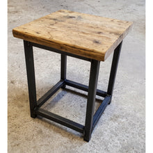 Load image into Gallery viewer, Reclaimed Rustic Scaffold Board & Steel Industrial Look Stool \ Side Table \ Night Stand \ Bar Stool