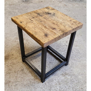 Reclaimed Rustic Scaffold Board & Steel Industrial Look Stool \ Side Table \ Night Stand \ Bar Stool