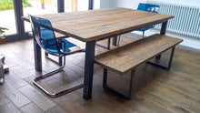 Load image into Gallery viewer, Farmhouse Style Rustic Table made from Reclaimed Scaffold Boards & Steel Box Section Legs