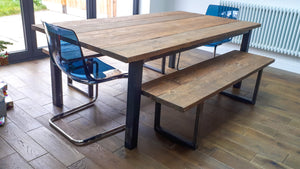 Farmhouse Style Rustic Table made from Reclaimed Scaffold Boards & Steel Box Section Legs