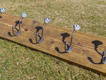 Load image into Gallery viewer, Industrial Style Reclaimed Scaffold Board Coat Hook / Rack with Ceramic Pumpkin Hooks