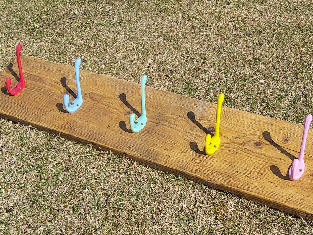 Industrial Style Reclaimed Scaffold Board Children's Coat Hook / Rack with Coloured Hooks