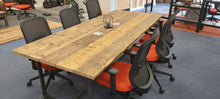 Load image into Gallery viewer, Meeting Room Rustic Table made from Scaffold Boards & Steel Box Section Legs