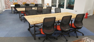 Meeting Room Rustic Table made from Scaffold Boards & Steel Box Section Legs