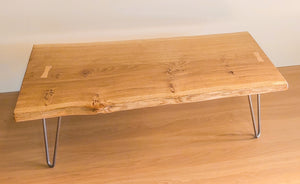 Waney Edge Pippy Oak Slab Coffee Table with Hairpin Legs 100x45cm