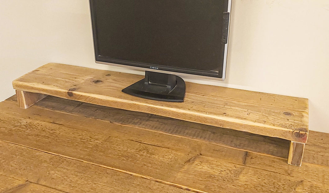 Reclaimed Scaffold Board Monitor Stand Shelf