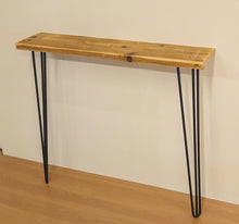 Load image into Gallery viewer, Reclaimed Scaffold Board Console / Hallway Table with Hairpin Legs