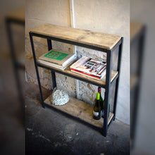 Load image into Gallery viewer, Industrial Style Steel & Reclaimed Scaffold Board Rustic Shelving Unit