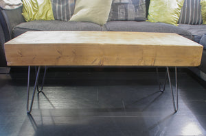 Laminated Chunky Timber Coffee Table with Hairpin Legs