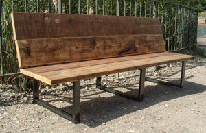 Reclaimed Scaffold Board & Steel Bench with Back