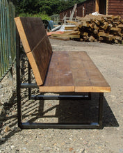 Load image into Gallery viewer, Reclaimed Scaffold Board & Steel Bench with Back