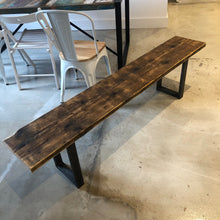 Load image into Gallery viewer, Reclaimed Scaffold Board Rustic Simple Wood Bench with Steel Box Section Legs