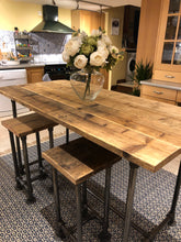Load image into Gallery viewer, Scaffold Tube Rustic Counter / Bar Height Table made from Reclaimed Scaffold Boards & Steel Tube
