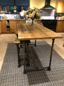 Scaffold Tube Rustic Counter / Bar Height Table made from Reclaimed Scaffold Boards & Steel Tube