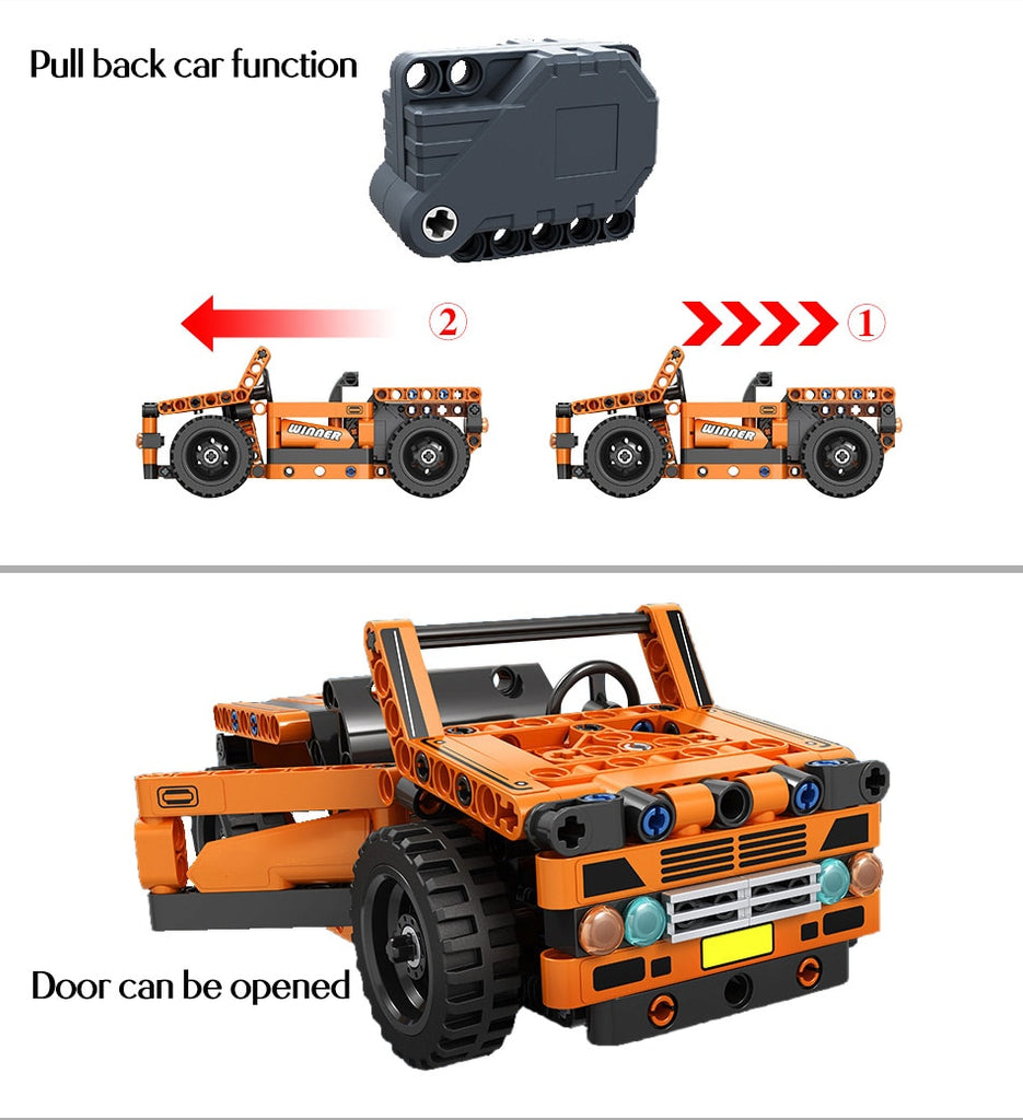 ERBO Creator City Technic Pull Back Truck Off Road Car loader Model Building Blocks Container Tractor Bricks Toys For children - F.I.Toys