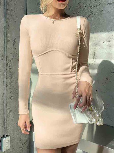 Stitching Slim Dress - cocome