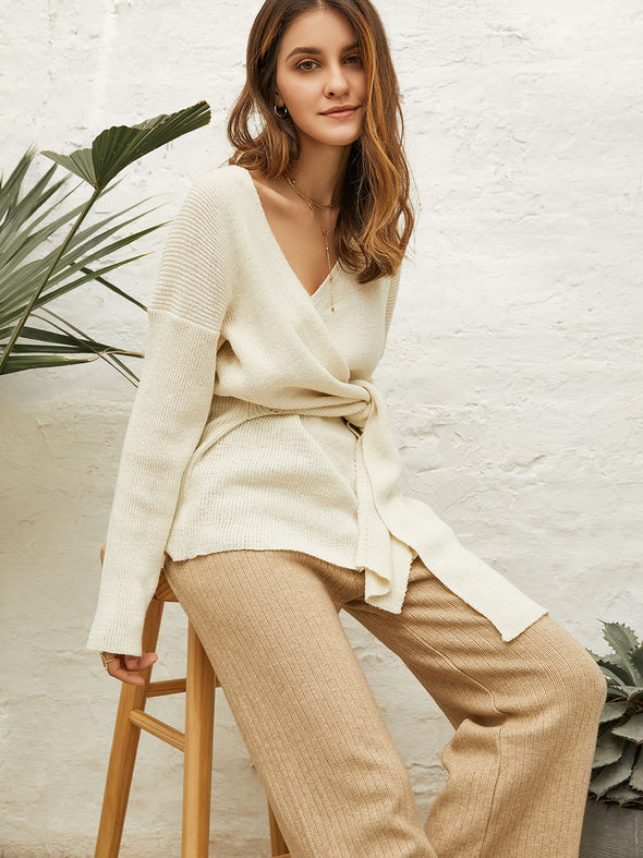 Wool Knitted Wide-Leg Pants