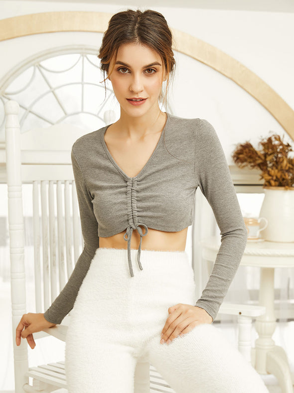 Drawstring Cotton Home Sportswear Two-piece Set