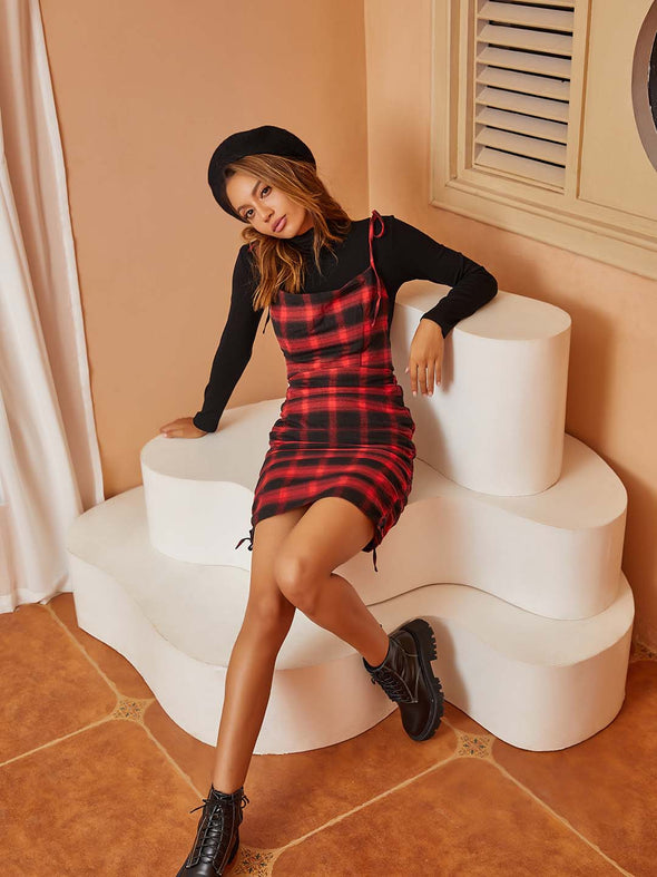Red Plaid Contrast Tight-Fitting Slip Dress
