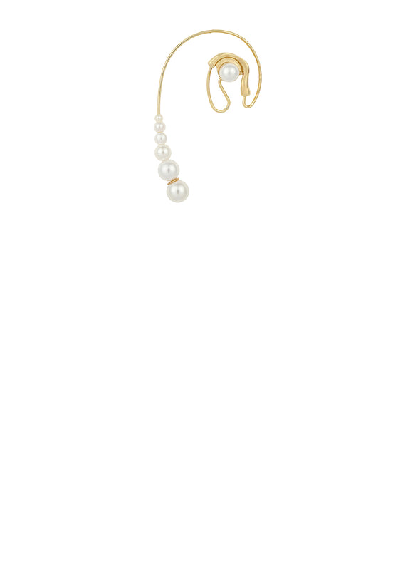 Golden Pearl Stud Hoop Earrings