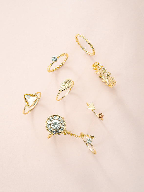 7 Pieces of Crystal Design Rings