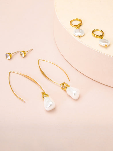 3-Piece Studs and Pearl Drop Earrings