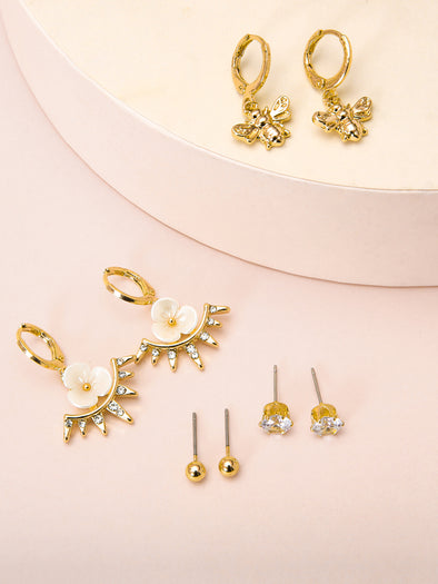 4-Piece Flowers and Bees Decorative Earrings