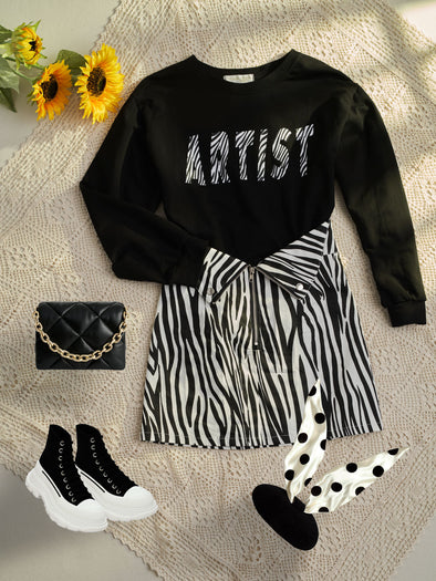 Letter Print Round Neck All-Match Oversized Sweater