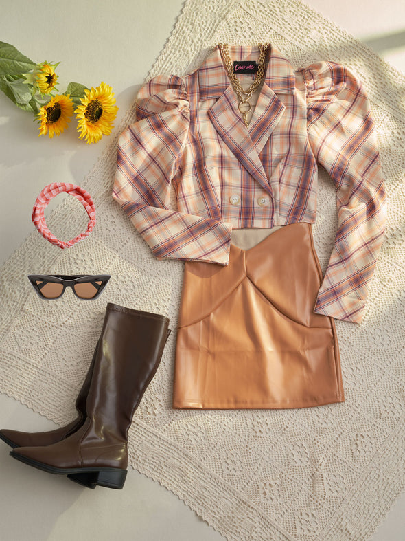 Plaid Puff Sleeve Jacket