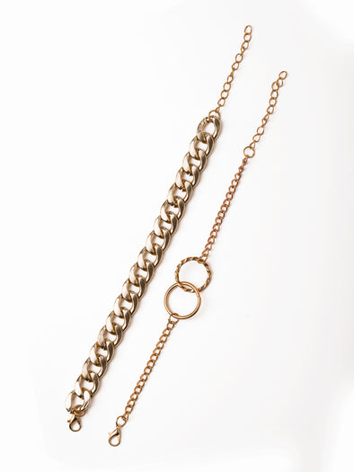 Double Ring Thick Chain 2-Piece Bracelet