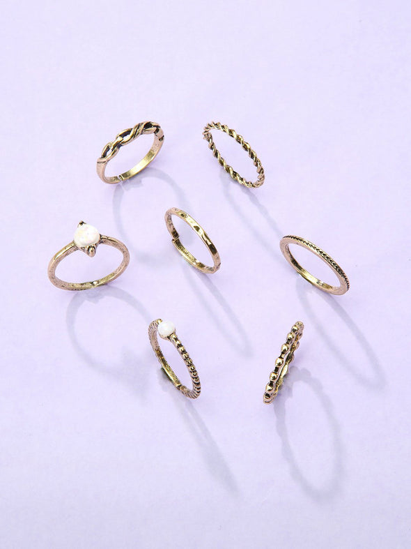 7-Piece Gem Rings