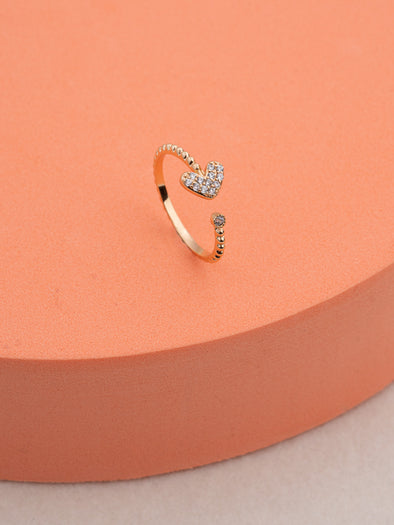 Gold-Plated Heart Decor Open Ring
