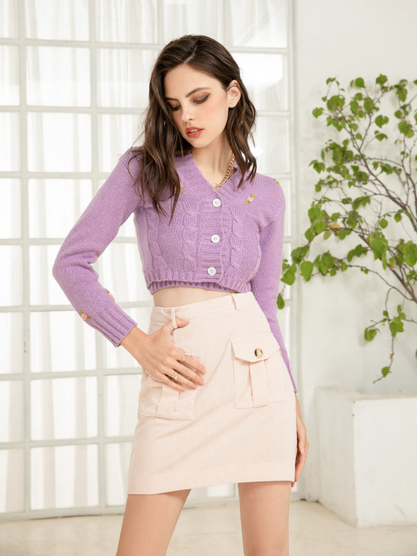 Short Cardigan Knitted Two-Piece Suit