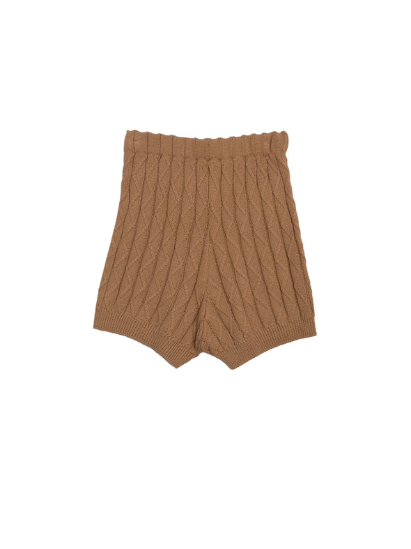 Round Neck Twist Knit Sweater and Knit Shorts 2-Piece Suit