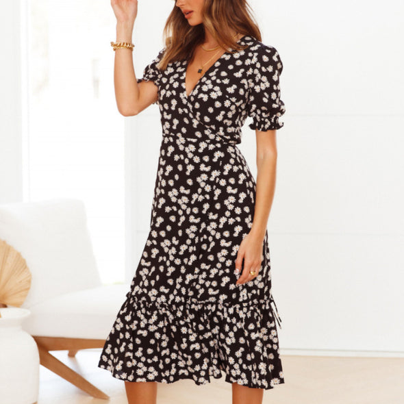 Floral Print Vacation Style V-neck Chiffon Dress