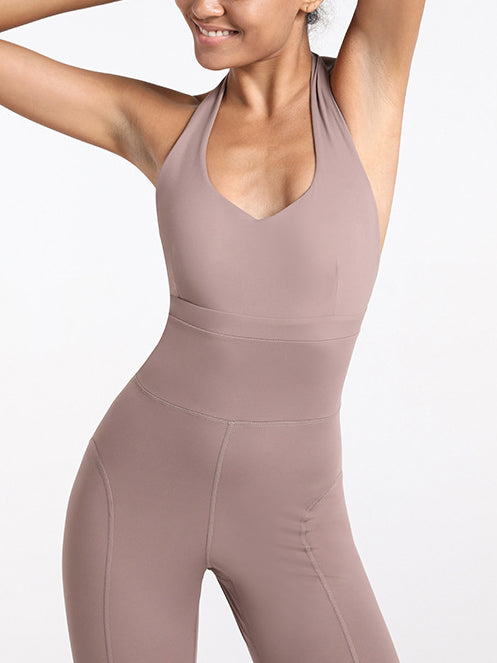 One-piece Tight Figure Flattering Sports Jumpsuit