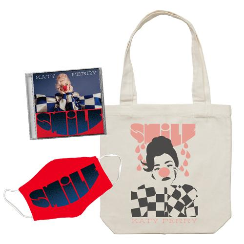 Katy Perry | Smile Deluxe CD + Smile Face Mask + Smile Canvas Tote Bundle