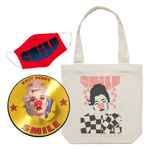Katy Perry | Smile D2C Exclusive Picture Disc Vinyl + Smile Face Mask + Smile Canvas Tote Bundle