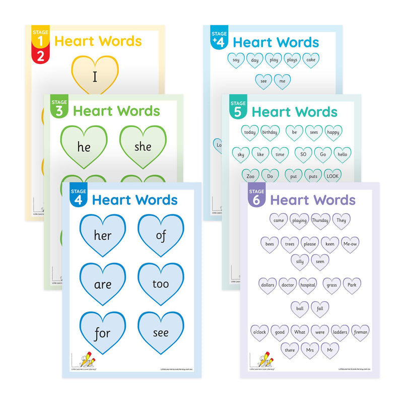 Heart Word Posters Stages 1-6