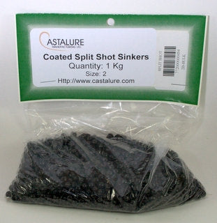 SPLIT SHOT SINKERS COATED BLACK - SIZE 2