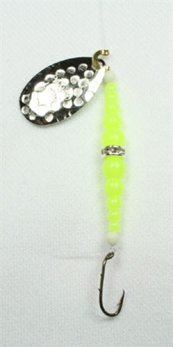 DIAMOND RING #8 SINGLE HAMMERED /SILVER BLADE - CHARTREUSE/CHARTREUSE REG BEADS