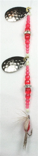 DIAMOND RING #8 DOUBLE HAM/SILV BLADE - RED/RED REG BEADS W/FLY