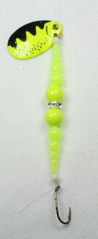 DIAMOND RING #8 SINGLE  BLACK/ CHARTREUSE BLADE - CHARTREUSE / CHARTREUSE SUPER BEADS