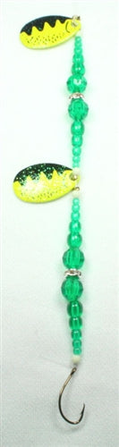 DIAMOND RING #8 DOUBLE CHARTREUSE PERCH BLADE - GREEN / GREEN SUPER BEADS