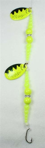 DIAMOND RING #8 DOUBLE CHARTREUSE PERCH BLADE - CHARTREUSE / CHARTREUSE SUPER BEADS