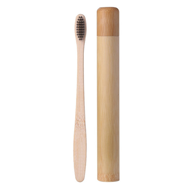 1pcs Safety Bamboo Handle Toothbrush and 1pcs Bamboo Tube Travel Case Organizer Single-Point Nylon Ground Carbon Brush Wire