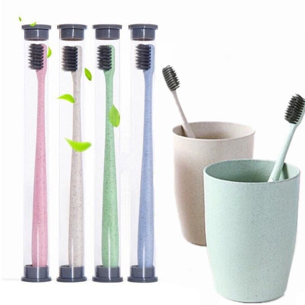 1pc Portable Travel Toothbrush Bamboo Charcoal Toothbrush Tongue Cleaner for Kids and Adults Wheat Straw Handle Soft
