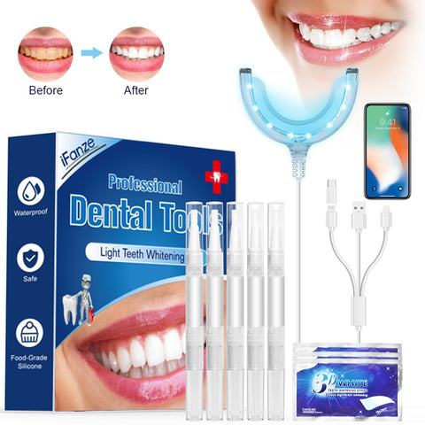 Professional Teeth Whitening Kit Mouth Tray Gel Strips White Tooth LED Light Teeth Whitener Tooth Whitening Gel Pen Oral Care